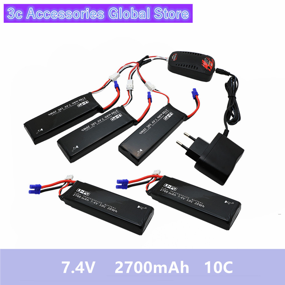 5pcs Hubsan H501S lipo battery 7 4V 2700mAh 10C Batteies with cable for charger Hubsan H501C