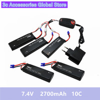 5pcs Hubsan H501S lipo battery 7.4V 2700mAh 10C Batteies with cable for charger Hubsan H501C rc Quadcopter Airplane drone Spare