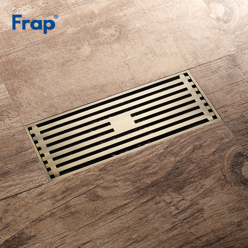Frap High Quality Floor Drain 20*8.2 cm Euro Antique Brass Floor Drains Cover Shower Waste Drainer Bath Accessories Y38072 high quality gold solid brass 4 inch 100 100mm square deodorant bath floor drain shower waste water drainer