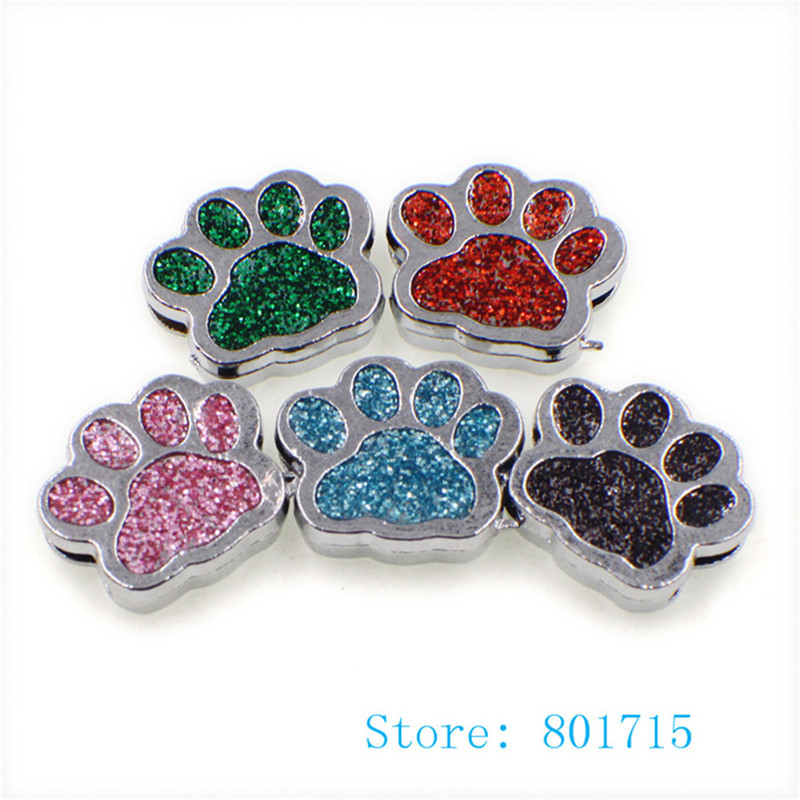wholesale 50pcs SL505 Internal Dia. 8mm dog paw footprint slide Charms Jewelry Finding f ...