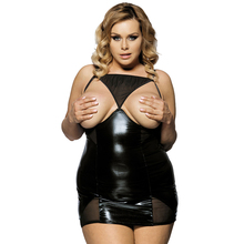 RL70338 SolidBlack Leather Lingerie Fuax Leather Sex Erotic Clothes See Through Mesh Draped Sexy Lingerie Plus Size Sexy Costume