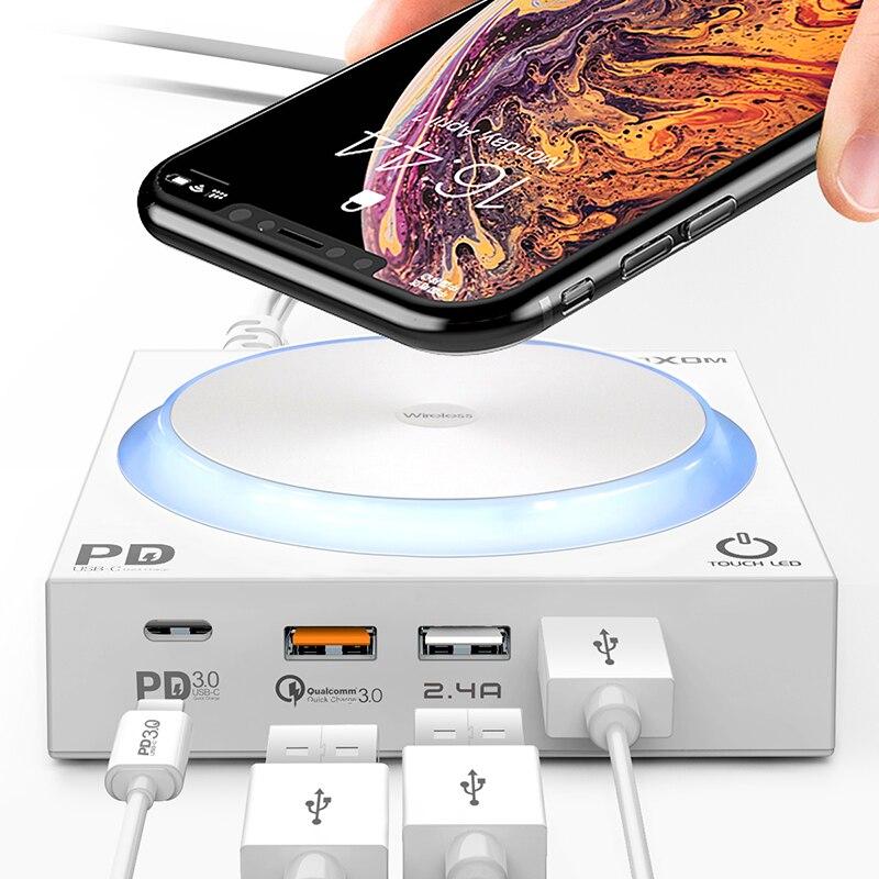 40 Вт Qi Беспроводная зарядная док станция со светодиодный 4 usb портами type C PD Быстрая зарядка 3,0 Быстрая зарядка для iPhone 8 Xs Max samsung huawei
