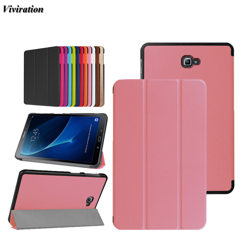 Women Girls Viviration Case Solid Pink Fashion Tablet PC Case Cover For Samsung Galaxy Tab 10.1 T580 T585N Magnetic Stand Cover