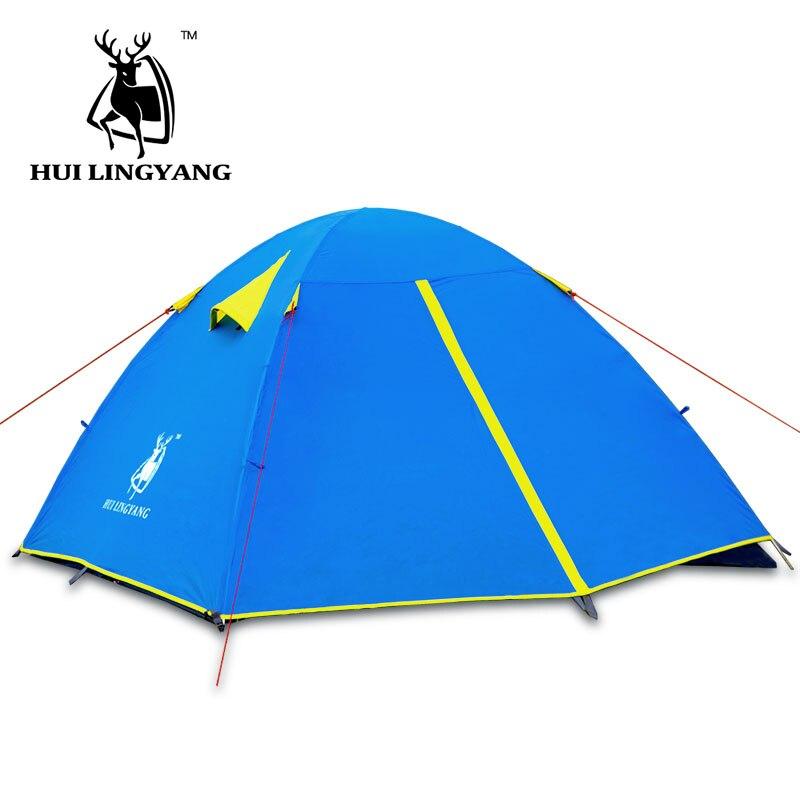 2-3 personnes Camping En Plein Air Tente Double Couche Coupe-Vent Imperméable Hiver Camp Touristique Tente de Randonnée En Plein Air Léger Tentes