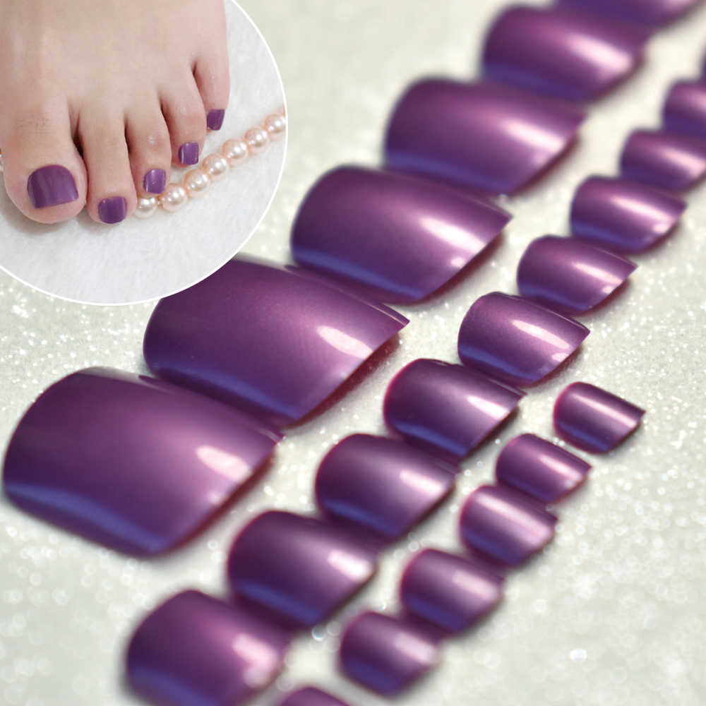 Shimmer Glossy Grape Purple Acrylic Nails Tips for Toenails Candy Festival Style Fake Toenails for Foots 24pcs/lot