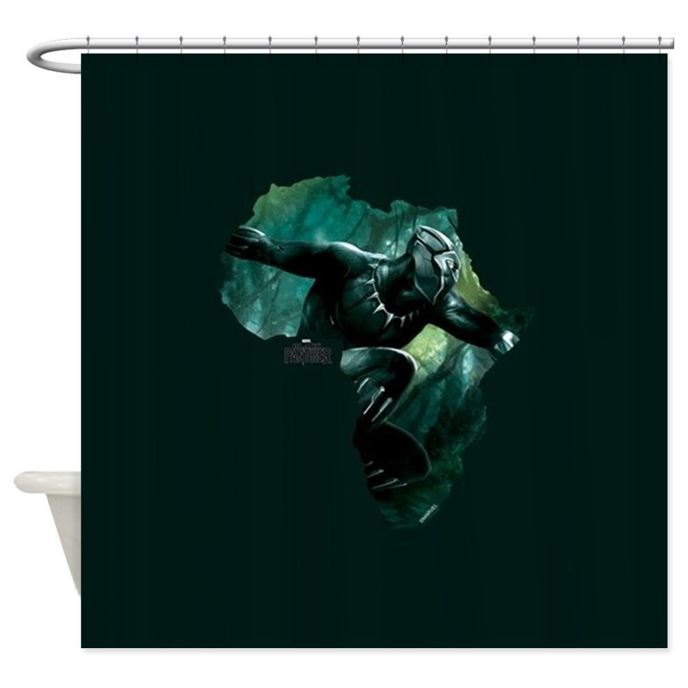 Black Panther Africa Decorative Fabric Shower Curtain