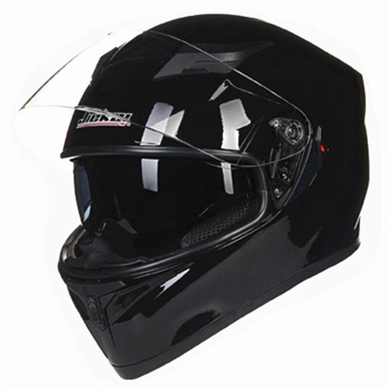 Plein visage moto casque 2 pare-brise casque anti scratch verre plein visage vélo casque DOT casque standard