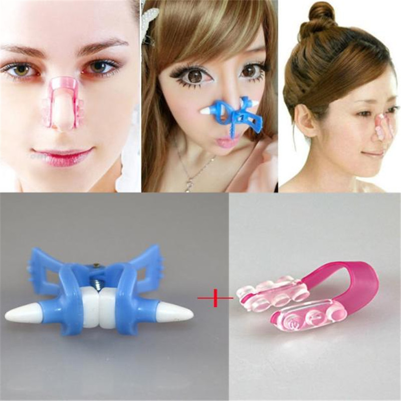 2PC Magic Nose Shaping Shaper Lifting Bridge Straightening  Face Lift Nose Up Clip Facial Clipper Beauty Tool  BULE+RED