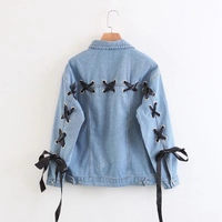 NIBESSER Spring Autumn Washed Denim Jackets Women Sleeve Back Lace Up Overcoats Ladies 2017 Streetwear Bomber