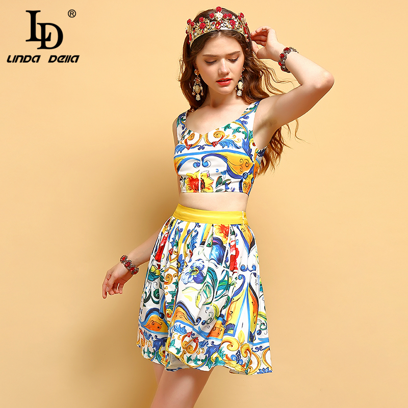 LD LINDA DELLA Summer Holiday Women s Suitss Spaghetti Strap Vintage Floral Print Tops and Casual