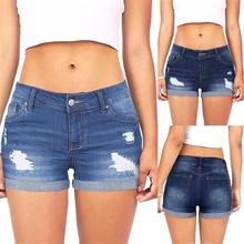 Kobiet niskiej talii myte zgrywanie dziura miękkie i wygodne krótkie Mini Jeans spodnie jeansowe spodenki L50 0130 cheap Kobiety Poliester Szorty Średni Udzielenie Zipper fly Wysoka Fałszywe zamki Zmiękczania skinny Szerokie spodnie nogi