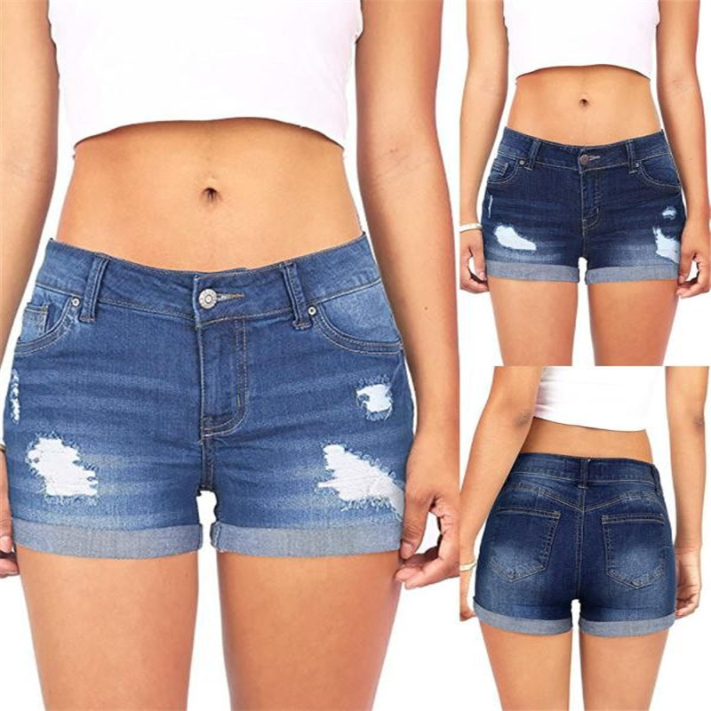 Women Low Waisted Washed Ripped Hole soft and comfortable Short Mini Jeans Denim Pants Shorts L50/0130