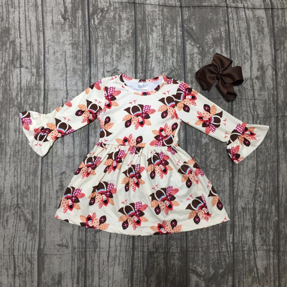 baby girls thanksgiving dress baby kids Fall milk silk dress children turkey dress baby girls boutiques dress with bows