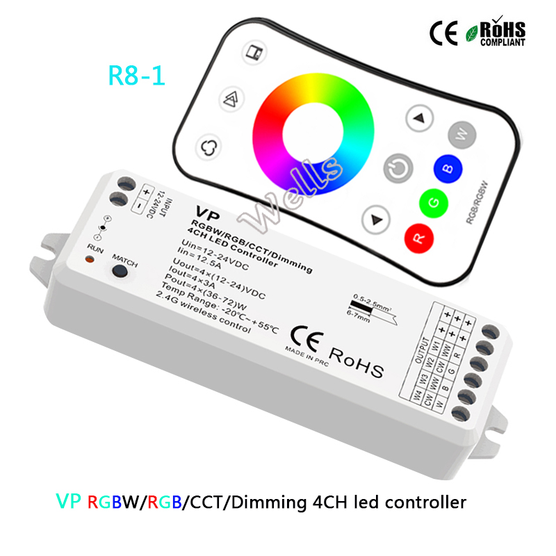 Vp 2,4g Wireless Rgbw/rgb/cct/dimmen 4ch Dc12-24v 12a 4 In 1 Smart Led Streifen Licht Controller R8-1 Rgb/rgbw Fern Duftendes In Aroma