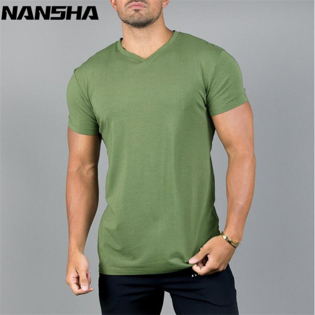ALPAHALETE Men Gyms Fitness Bodybuilding T-shirt New Solid Cotton T-shirts Crossfit Brand Slim Casual Short Tees Tops Clothes