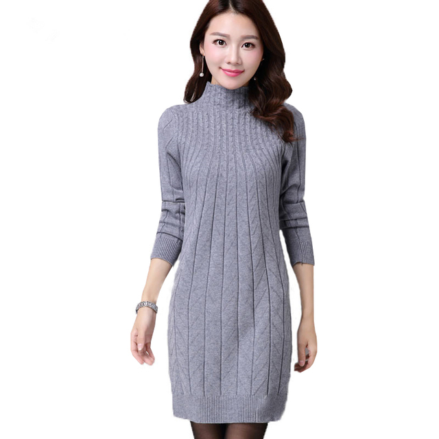 on sale a39d5 144a9 US $14.49 63% OFF Neue Herbst Winter Frauen Pullover Kleider Langarm Dicke  Warme Gestrickte Kleid Sexy Dünne Rollkragen Kleider vestido de festa AB022  ...