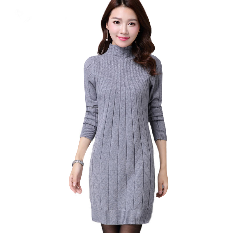 New Autumn <font><b>Winter</b></font> Women Sweater <font><b>Dresses</b></font> Long <font><b>Sleeve</b></font> Thick Warm Knitted <font><b>Dress</b></font> <font><b>Sexy</b></font> Slim Turtleneck <font><b>Dresses</b></font> vestido de festa AB022 image