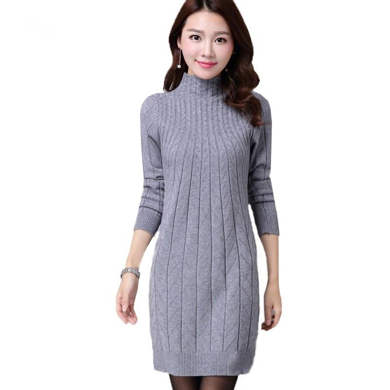 Novo outono inverno feminino camisola vestidos de manga longa grosso quente vestido de malha sexy magro gola alta vestidos de festa ab022