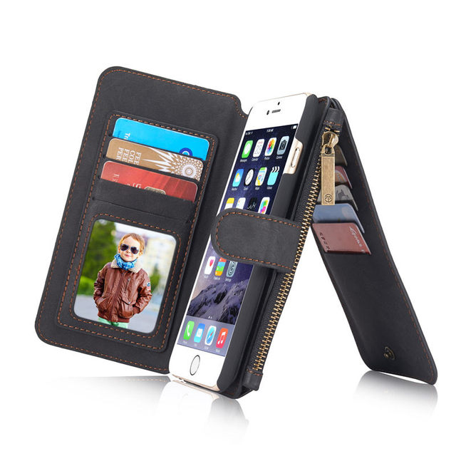 Para a apple iphone 6 s wallet case de couro genuíno flip original retro zipper tampa magnética para apple iphone 6 6 s plus carteira case