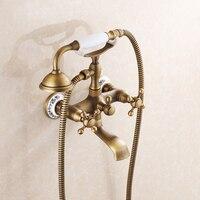 Free shipping bathtub faucet antique bronze bathroom shower head and faucet banheiro shower set rainfall hy 687