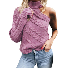 One Shoulder Womens Sweater Purple Turtleneck Knitted Female Pullover Jumper Casual Streetwear Autumn Winter Sweaters