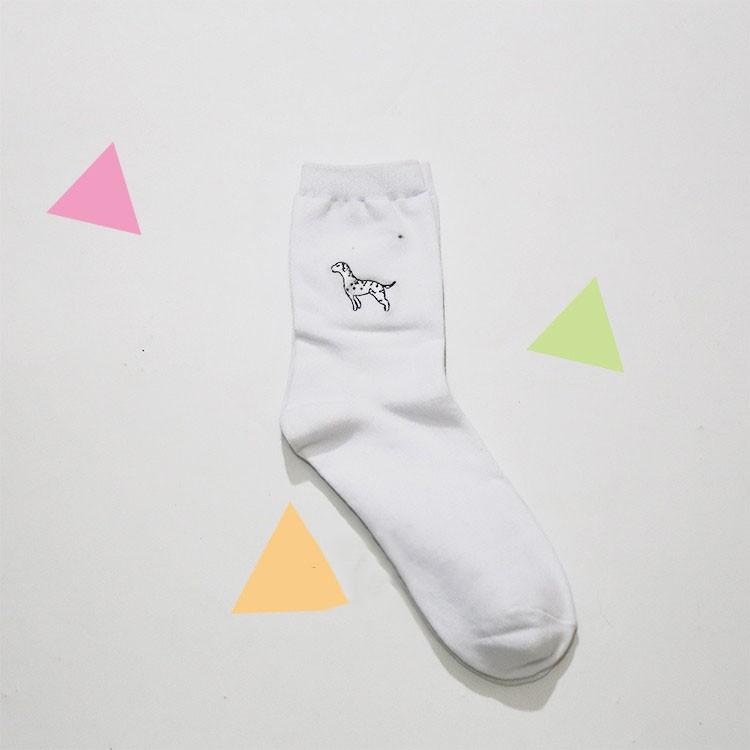 cute animal husky embroidery women cotton white socks lovely dog Jacquard female pure color socks funny kawaii pug meias soks 14
