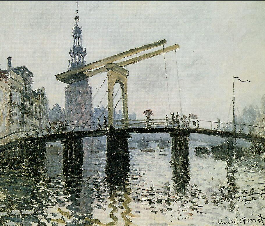 High quality Oil painting Canvas Reproductions The Bridge, Amsterdam (1874) By Claude Mo ...