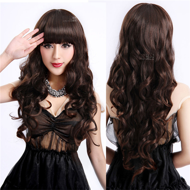 26 cm Long Brown Wavy Cosplay Wig Anime Fashion Sexy Full Wavy Synthetic Hair Wigs With Neat Bangs for Girl Women