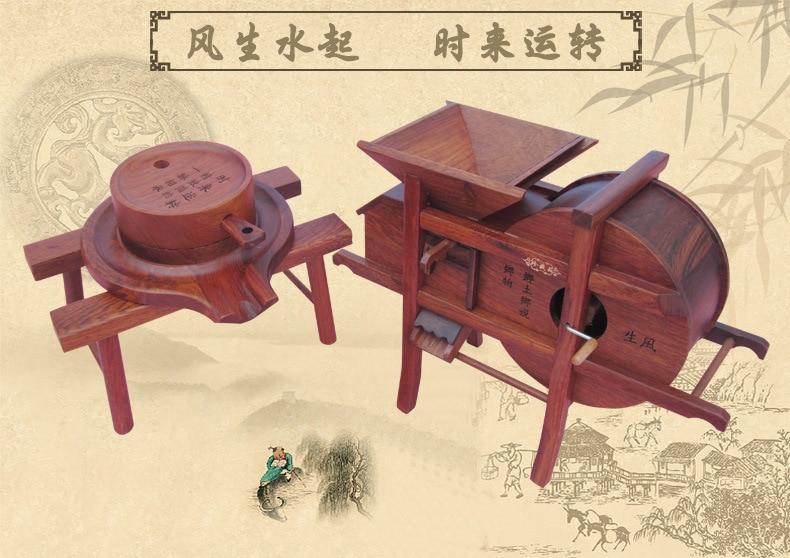 Wood carving miniature farm tool mahogany windmill stone grinding miniature to operate Feng Shui small pendulum