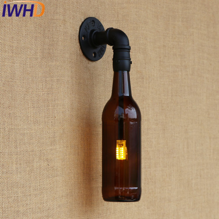 IWHD Loft Style Retro Glass Bottle Water Pipe Wall Lamp Sconce LED Industrial Vintage Wall Light Fixtures For Indoor Lighting adnart flavour it glass water bottle with fruit infuser