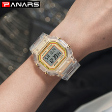 Mewah Wanita Mawar Emas Jam Tangan Plastik Wanita Fashion LED Digital Clock Chronograph Wanita Elektronik Watch Reloj Mujer(China)