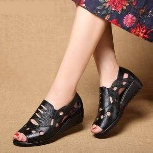 Image 3 - GKTINOO Rome Style Sexy Peep Toe Gladiator Sandals Women Flat Genuine Cow Leather Soft Sole Non Slip Hollow Summer Shoes Woman