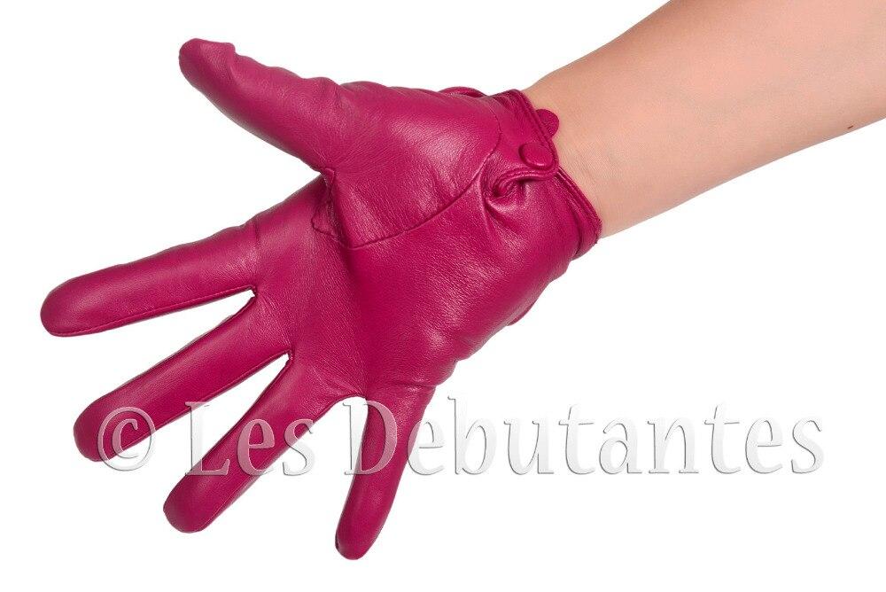 Женские темно-розовые кожаные перчатки с бантом