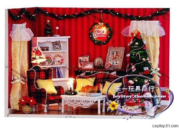 diy led light dollhouse miniatureswith music boxcover perfect party kit christmas gift christmas - Christmas Miniatures
