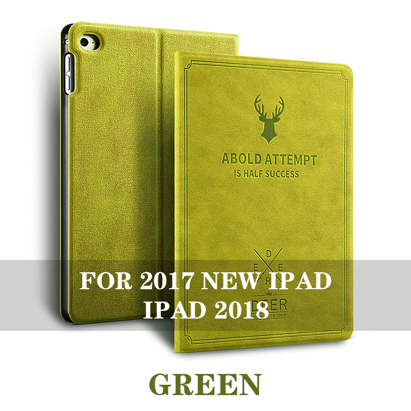 Green 5 colos iPad 9.7 inch smart case with stand and 3d deer pattern for iPad 2017, 2018