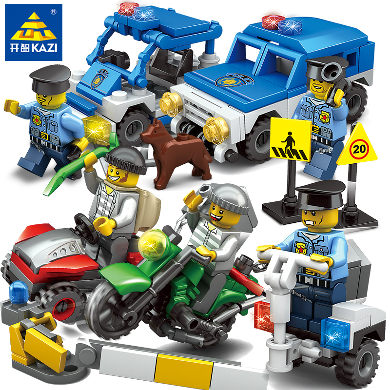 KAZI 67253 City police Building Block educational toys Compatible with famous brand brick heads toys for children