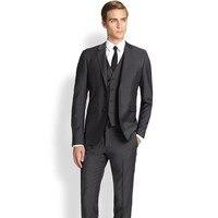 Men Blazer Business Prom Grey charcoal Party Suits Wedding Suits For Men Tuxedos Groom Suits (Jacket+Pants+Vest)A122