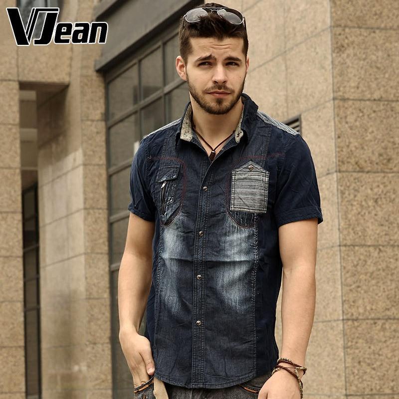 V JEAN font b Men s b font Corduroy Short Sleeve Denim font b Shirt b