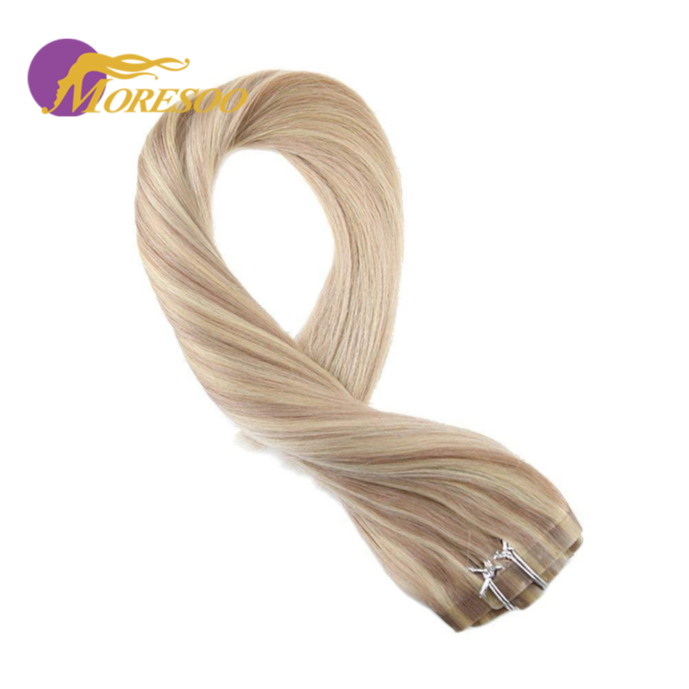 Moresoo PU Clip In Hair Extensions Machine Remy Human Hair Double Weft #P18/613 Blonde Natural Hair 7Pcs 100g 16-24 Inch