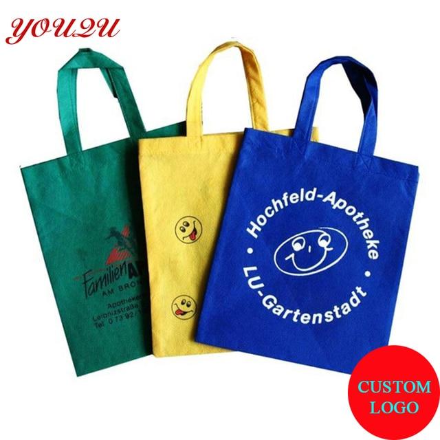 68d32b65c Não tecido sacos de compras reutilizáveis com a impressão do logotipo saco  de material reciclado