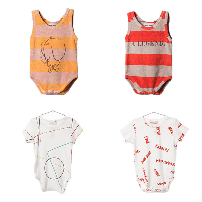 BOBOZONE Fashion body 2017 nieuwe mouwloze o-hals One-Pieces voor baby kinderkleding top