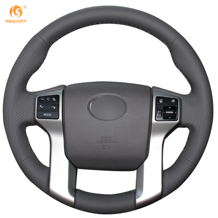 Mewant Dark Gray Genuine Leather Steering Wheel Cover For