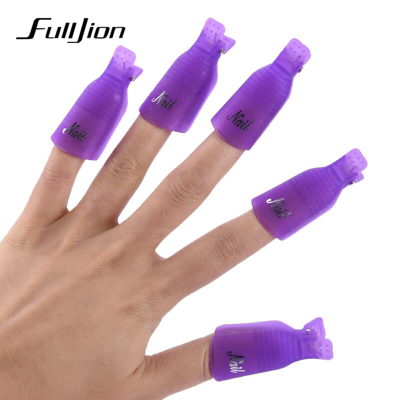 Fulljion 10pcs Set Nail Clips Gel Polish Remover Nail Art Soakers Uv Degreaser Polish Remover