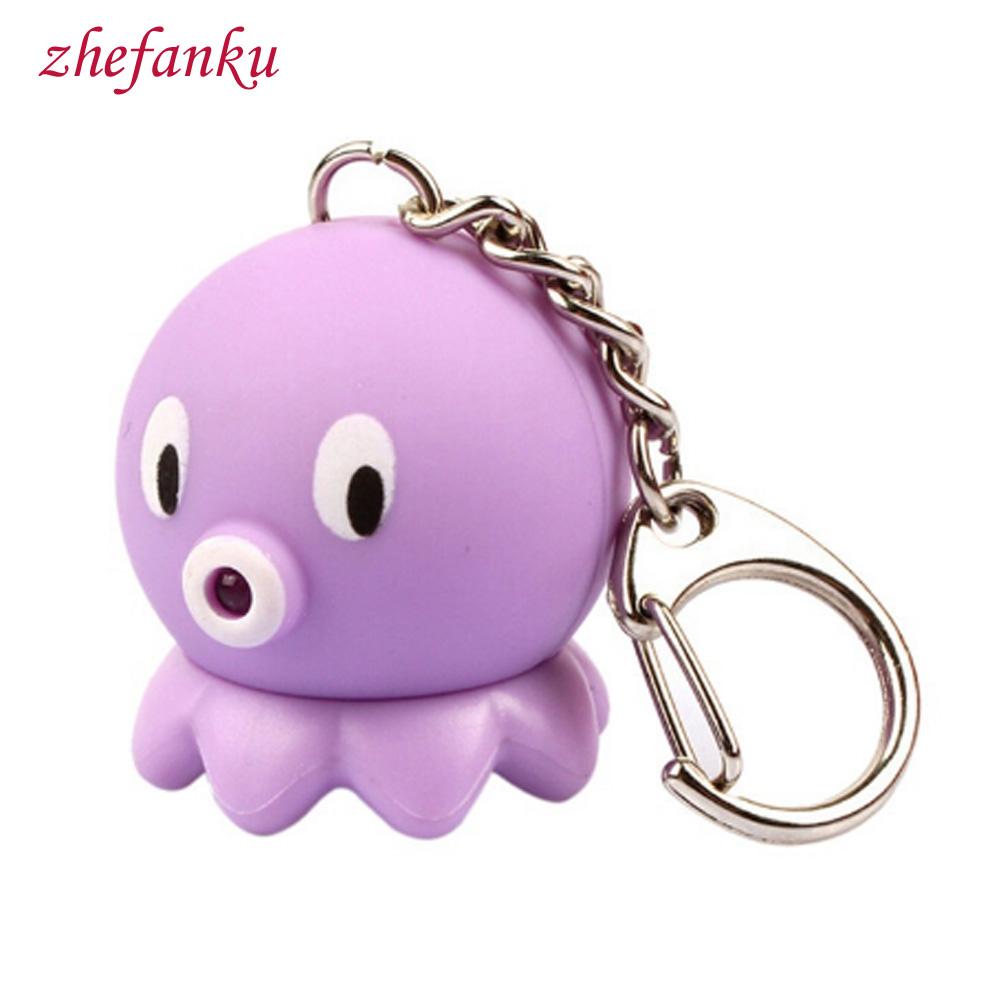 2017 Sound Light Keychains Flashlights Sound Rings Cute Octopus Led Keychains Gift Pendant Birthday Kids Gift Jewelry