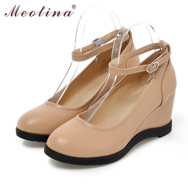 Meotina mujeres zapatos otoño tacones zapato con cierre de cuña de la plataforma del dedo del pie redondo lentejuelas señoras causales blanco albaricoque tamaño 34-39