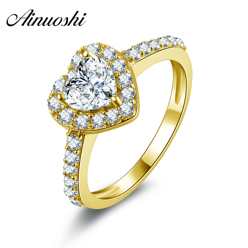 AINUOSHI 10k Solid Yellow Gold Women Wedding Rings Forever love Heart Shape CZ Band Fine Jewelry Halo Engagement Ring for Women sweet solid color forbidden love shape bracelet for women
