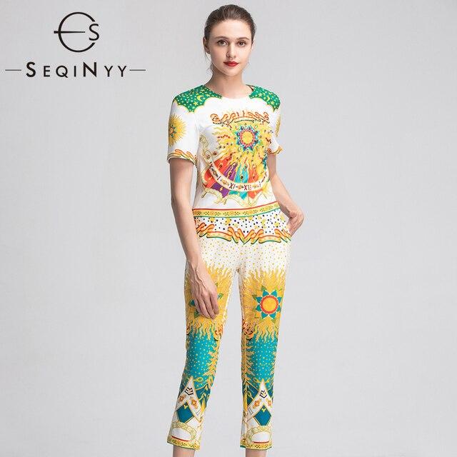 79aaf3b00 SEQINYY خمر المطبوعة مجموعة الأزياء الأصفر الزهور الكريستال 2019 الصيف ربيع  جديد تصميم قصيرة الأكمام أعلى + بنطال ملاصق للجسم مجموعة النساء