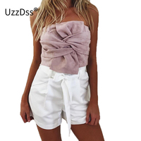 2017 Elegant Evening Party Club Crop Top Bustier Sexy Suede Bow Strapless Top Casual Zipper Camisole