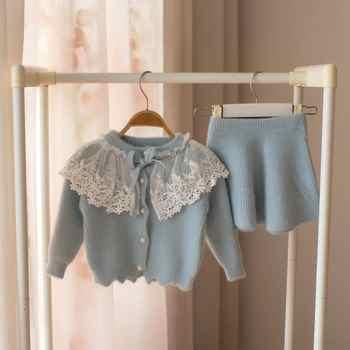 Zestaw ubrań dla dziewczynek koronki sweter z wełny garnitur dla dziewczyna jesień wiosna dla dzieci 2 sztuk odzież stroje dziecięce koszula spódnica odzież wierzchnia - DISCOUNT ITEM  45 OFF All Category