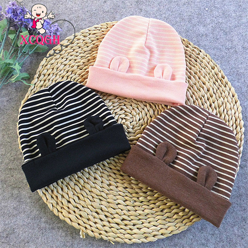 XCQGH Child Kids Winter Hats Newborn Baby Cotton Ears Stripe Cotton Baby Caps Beanie Warm Hat for 0-2 Years Infant Toddler